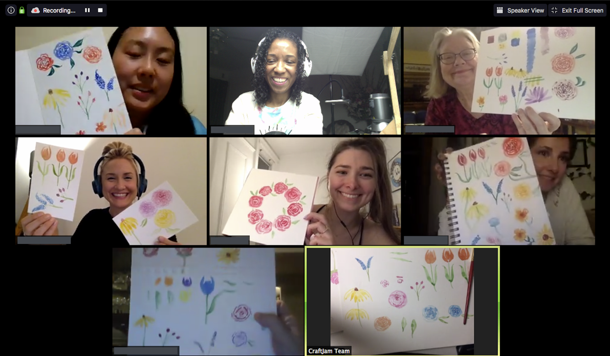 The end of CraftJam's Floral Watercoloring WebJam, with some Jammers holding up their final projects