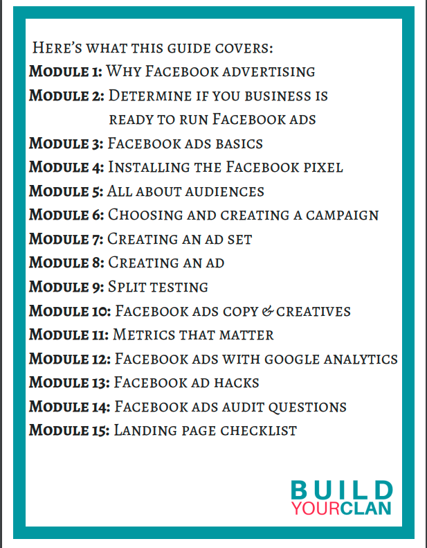 The table of contents from Shweta's Facebook ads guide