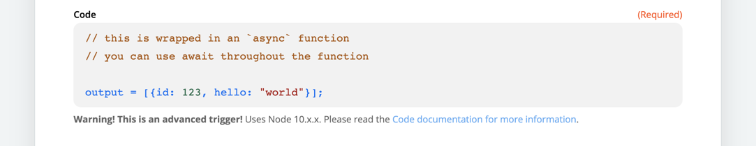In this example, you enter your code in the Code field.