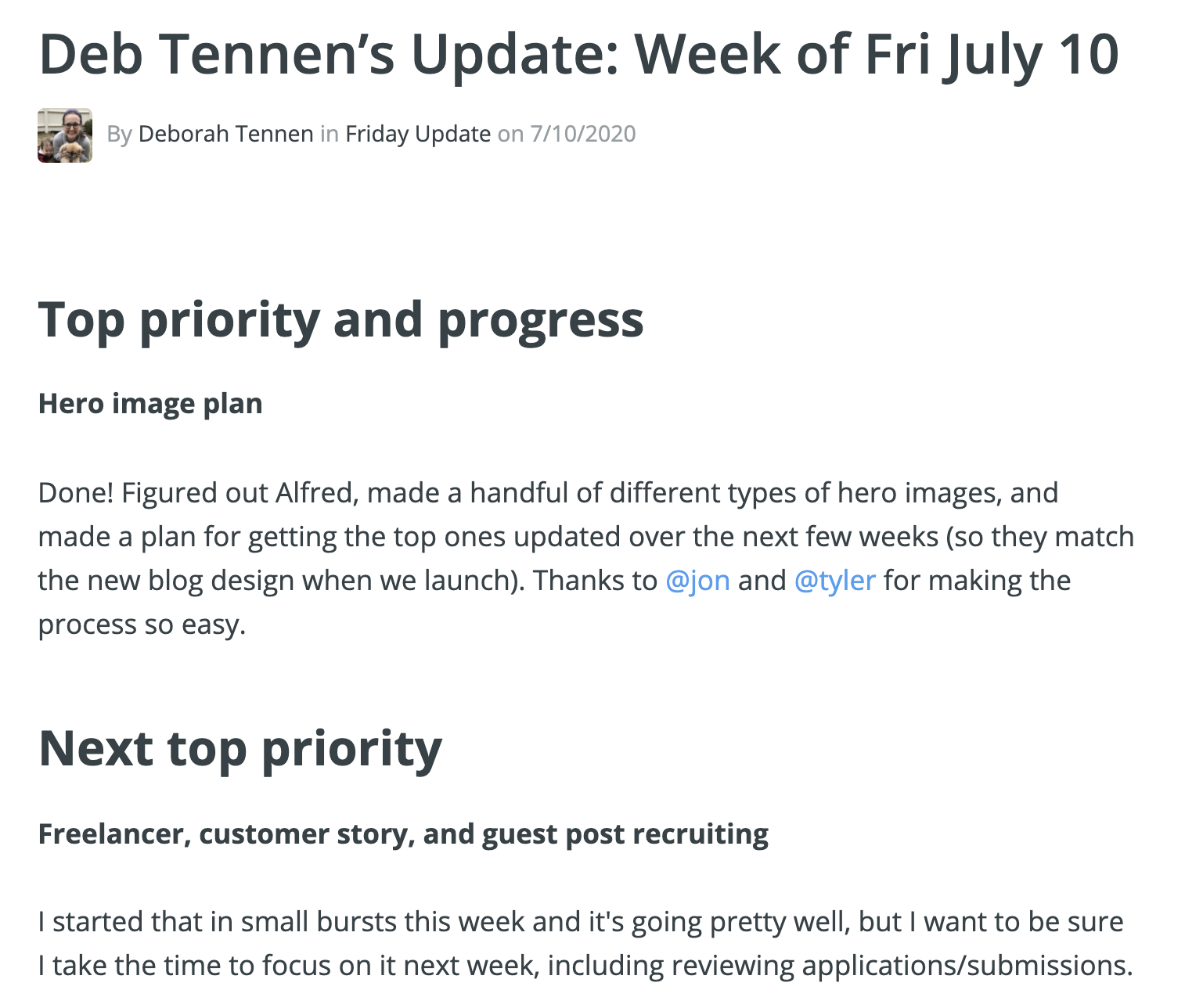An example of a Friday update, with a top priority for this week and next