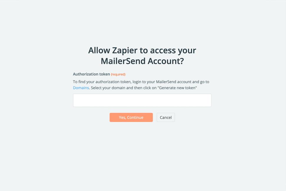 MailerSend Authorization token