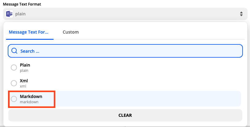 A screenshot of selecting the message text format in the Zap Editor.