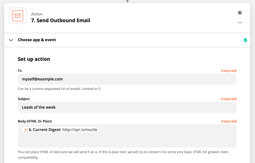 Email by Zapier step set up to release a digest