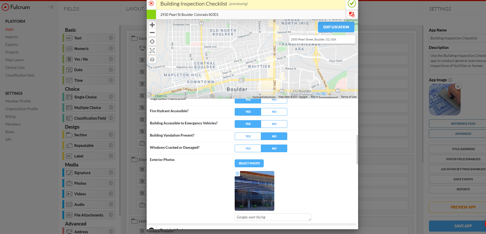 Overlay form entries on basemaps and custom map layers with Fulcrum.