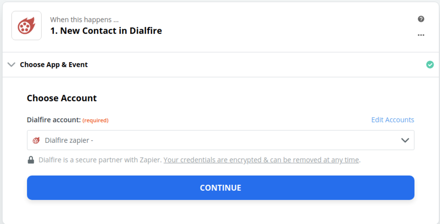 Dialfire connection successfull