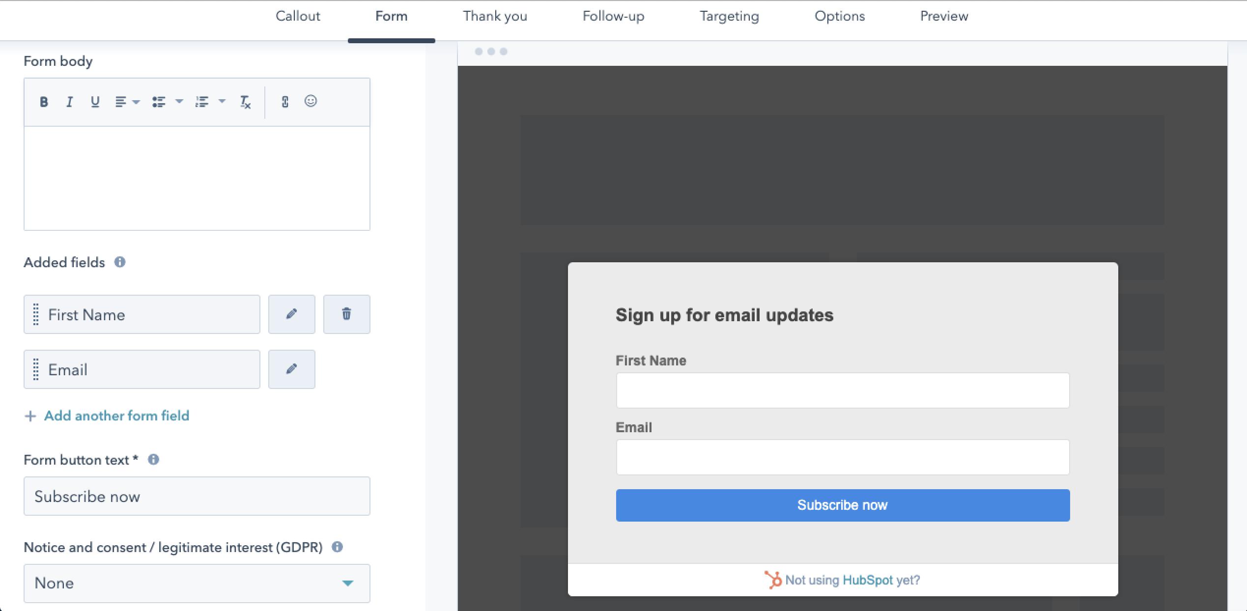 HubSpot Form Builder pop-up forms