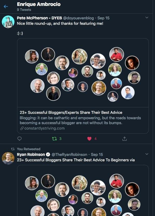 A screenshot showing people's tweets about the main blog article.