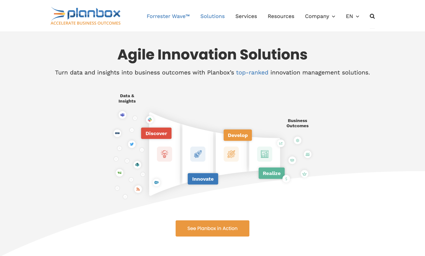 Planbox Innovation Central home page