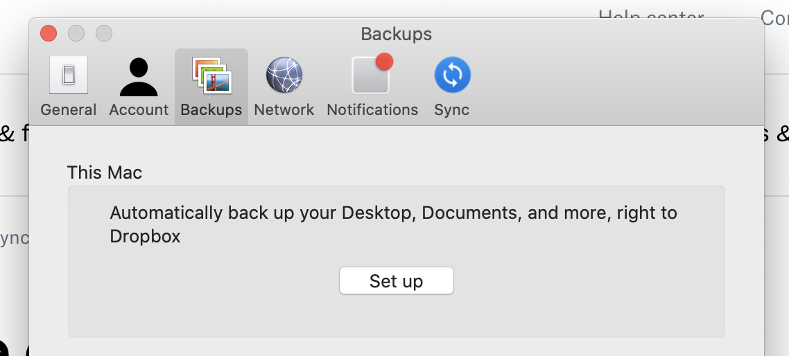 Manage backup in Dropbox