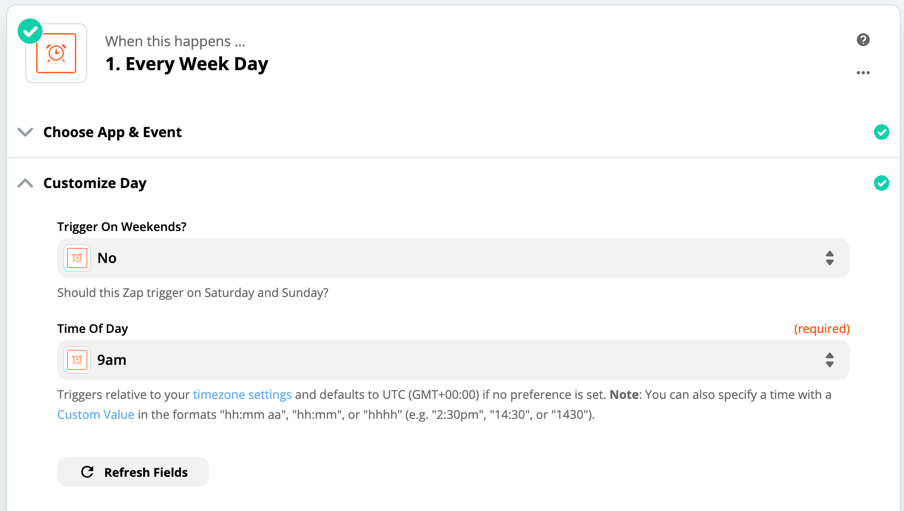 How to set up the Schedule by Zapier step to run during your work week.