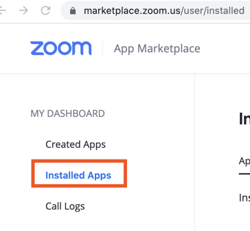 Finding Installed apps in the Zoom account