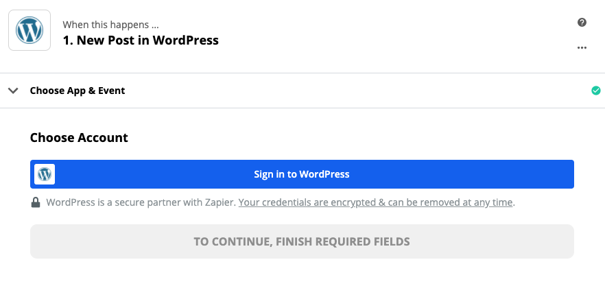 Click to connect WordPress