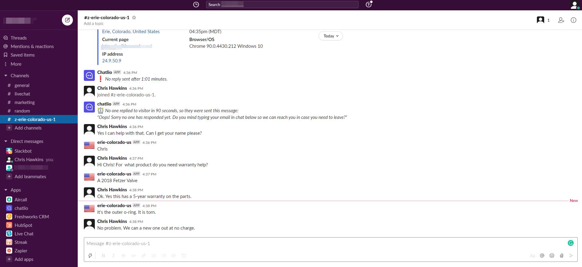 Screenshot of Chatlio functionality within Slack