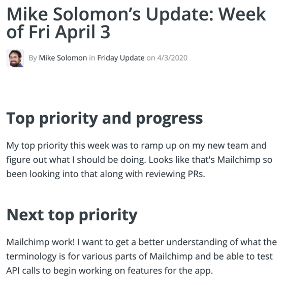 A screenshot of Mike's priority for the week