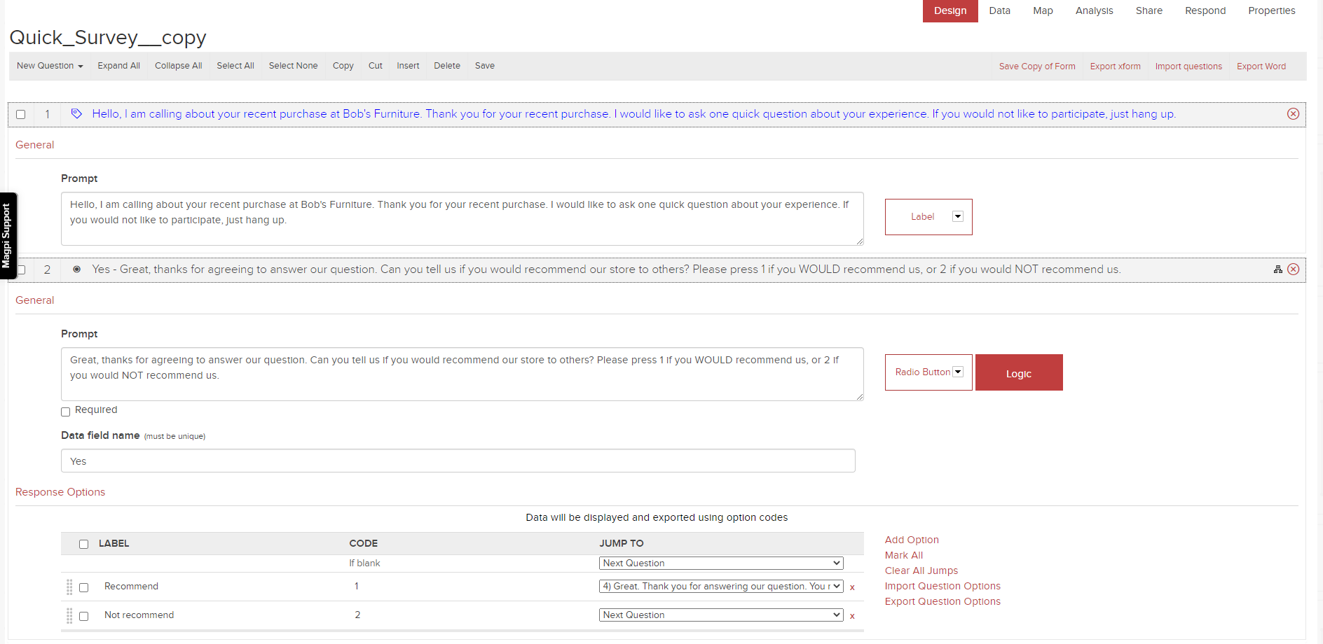 Create interactive voice data collection forms with Magpi.