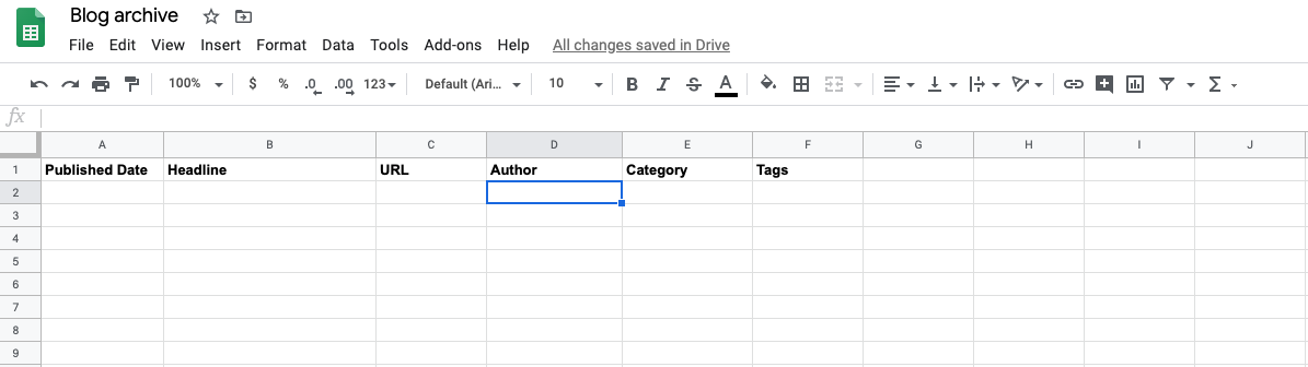 Columns labeled for a Google Sheets spreadsheet.
