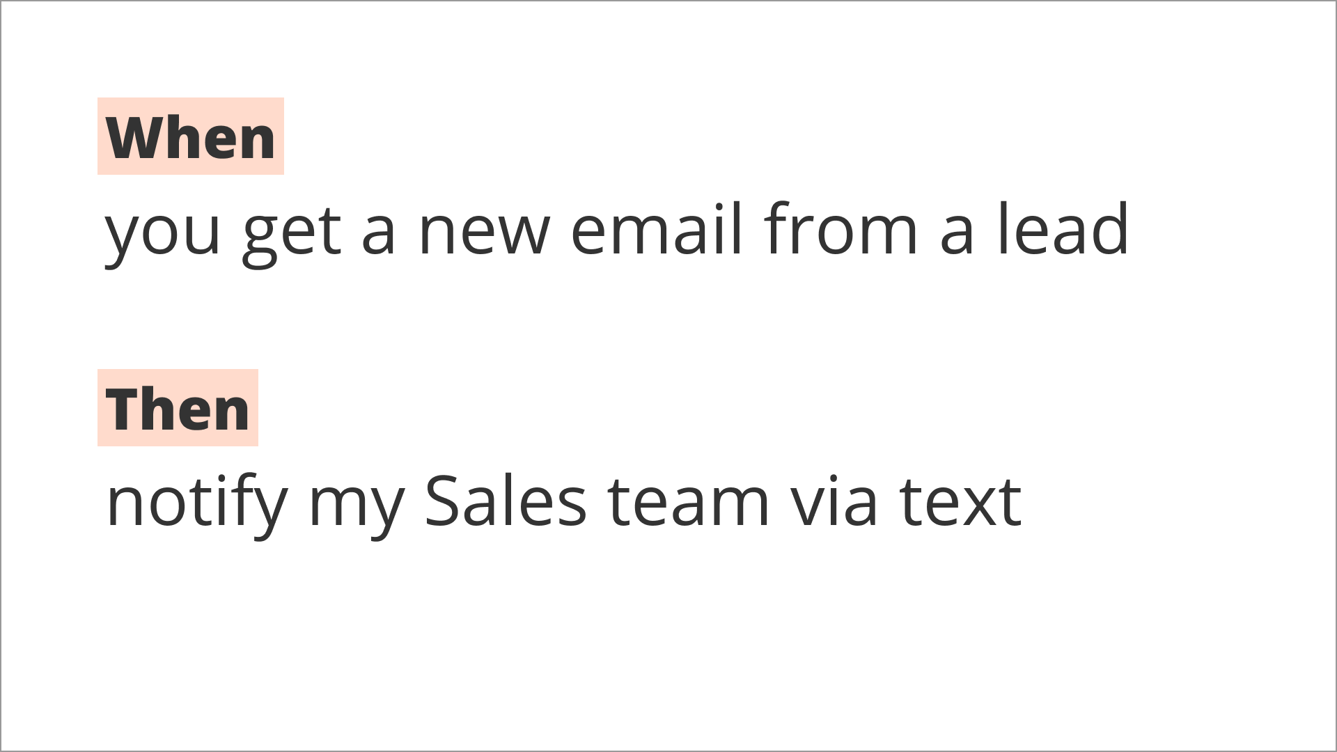 Text saying When you get a new email from a lead then notify my sales team via text