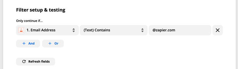 Let's take the example of a Zap that triggers from new submissions to a form, and we only want it to run if the user who submitted has an email address that ends in `@zapier.com`. We can set up a filter that looks at the Email field from our trigger, choose the rule to be (Text) Contains, and set the value to be `@zapier.com`.
