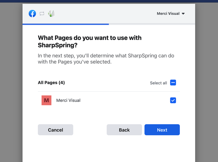 The next step in the Instagram connection to SharpSpring shows the Facebook pop-up asking the user What pages do you want to use with SharpSpring, they have selected a page.