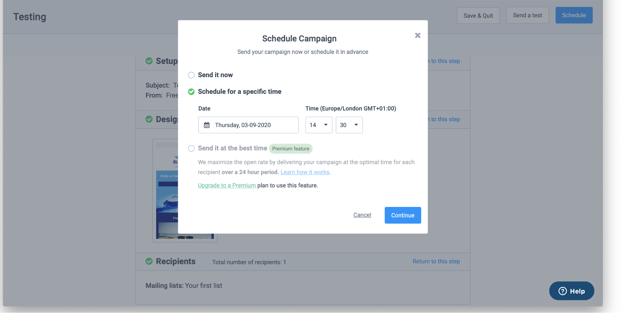 Scheduling an email in Sendinblue