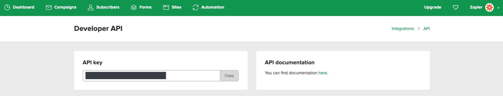 MailerLite API Key in account