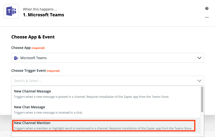 A screenshot of selecting the trigger event in the Zap Editor.