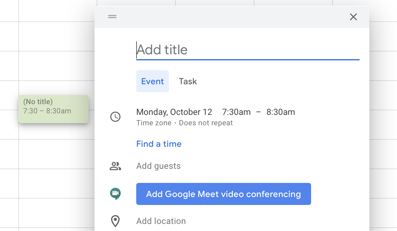 Add Google Meet video conferencing button in Google Calendar