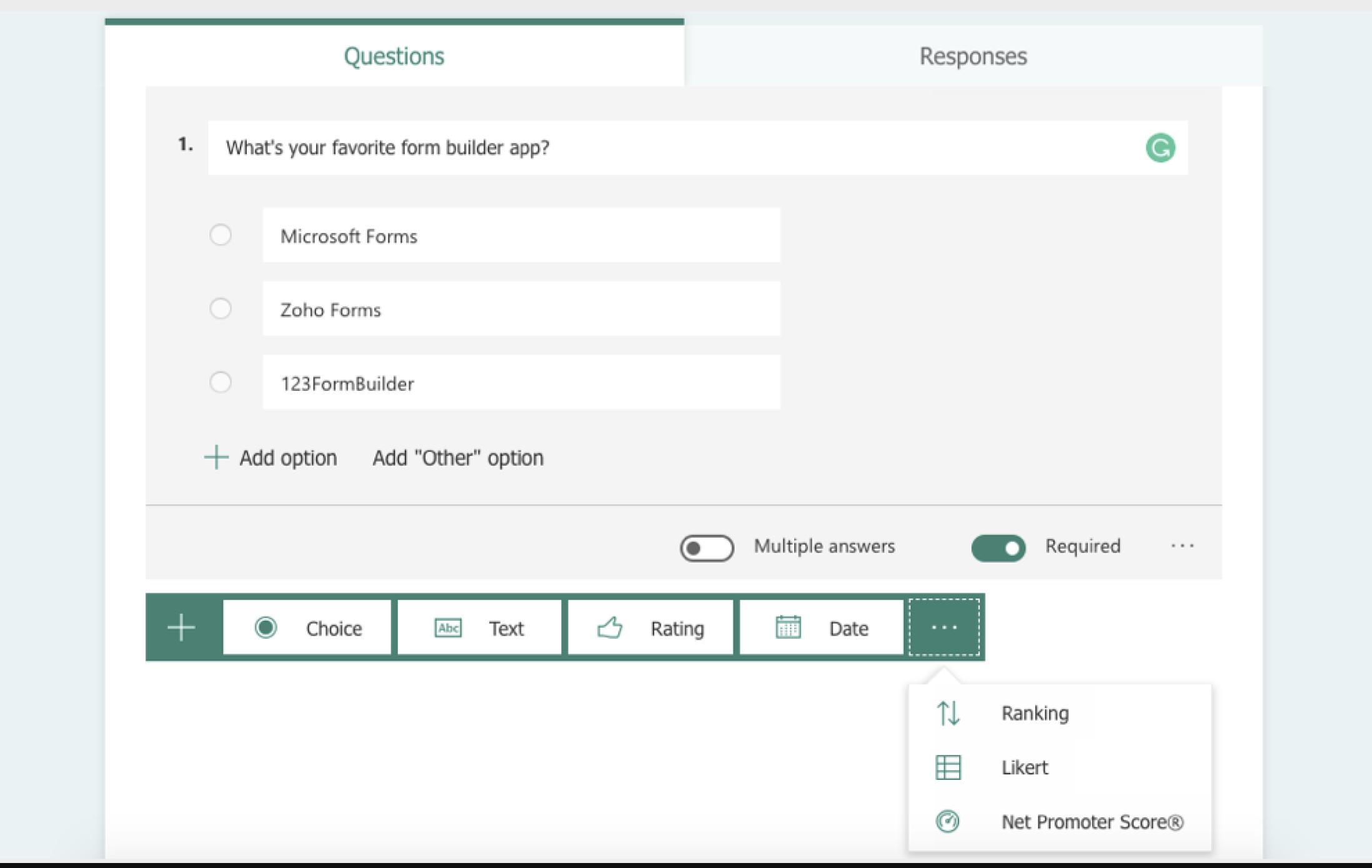 Microsoft Forms screenshot