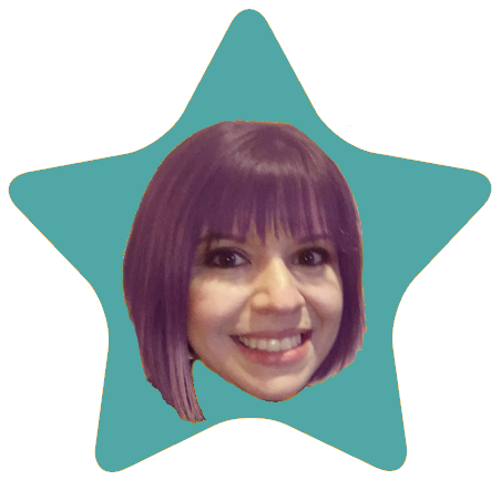 A cut-out of the author's head in the center of a star.