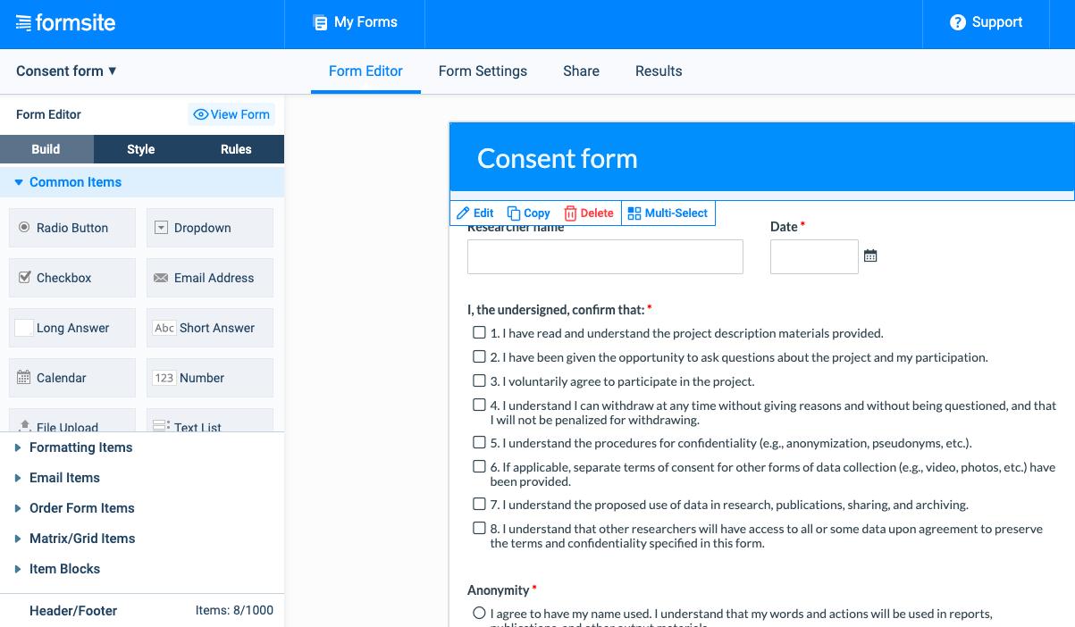 Formsite screenshot