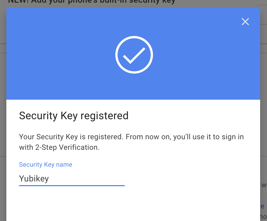 Google YubiKey working