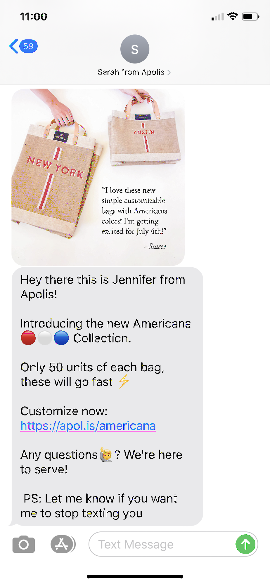 A follow-up text from a brand after someone purchases