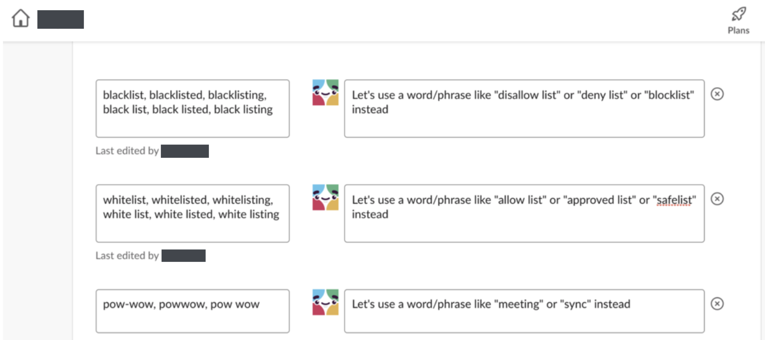 Screenshot of setting up the Slackbot. For example, whenever anyone types blacklist, it says Let's use a word/phrase like disallow list or deny list or blocklist instead.