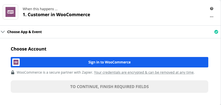 Click to connect WooCommerce