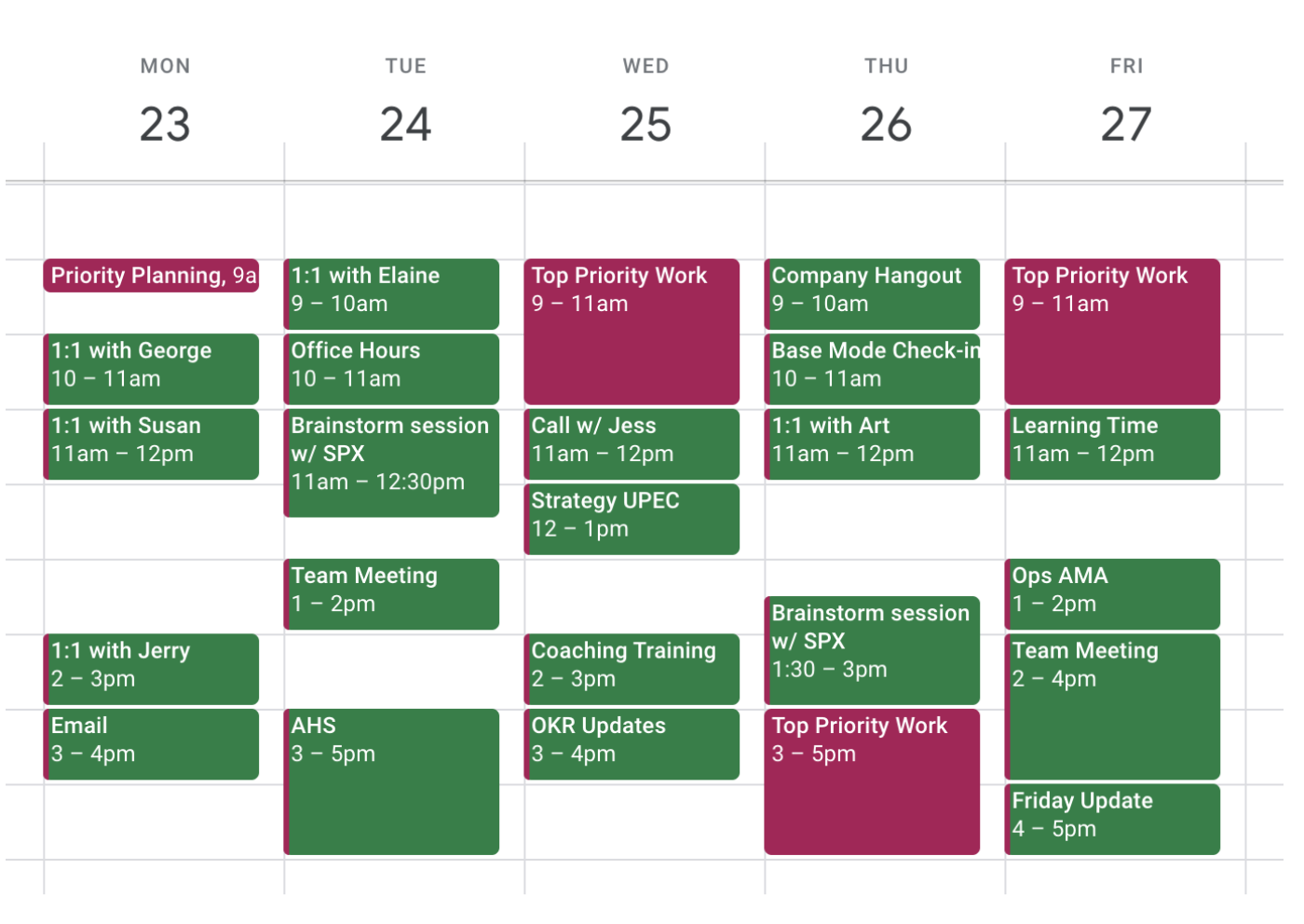 A screenshot of a time-blocked Google Calendar