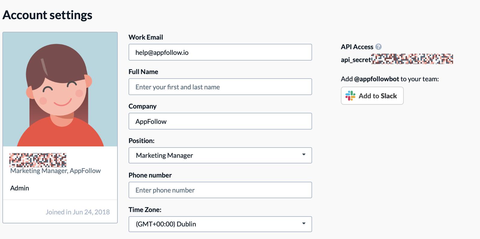 AppFollow API Key in account