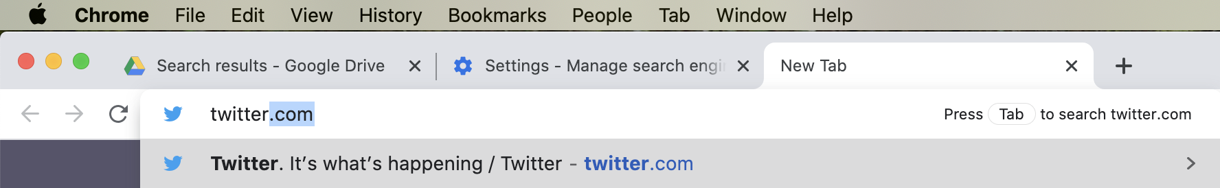 Searching Twitter from the Chrome address bar