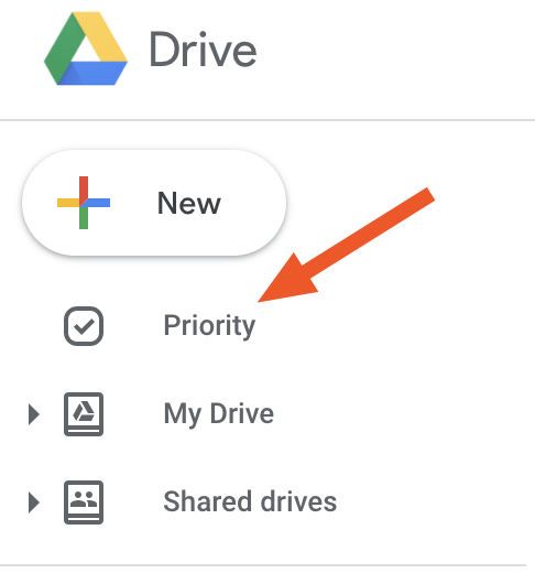 The Priority section of Google Drive in the left navigation