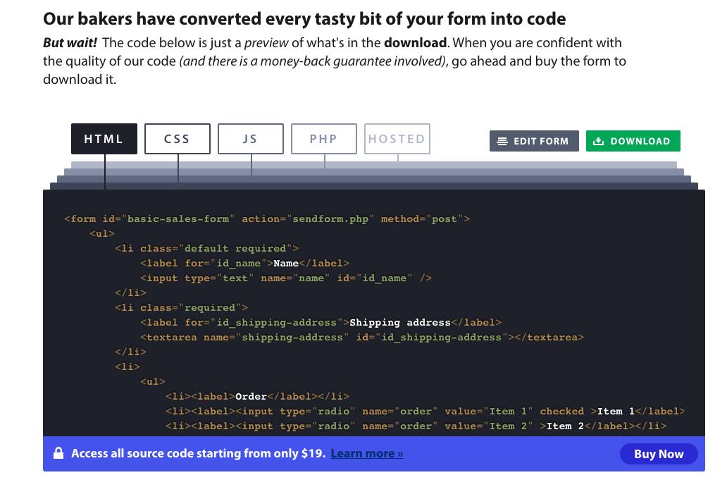 Formbakery screenshot