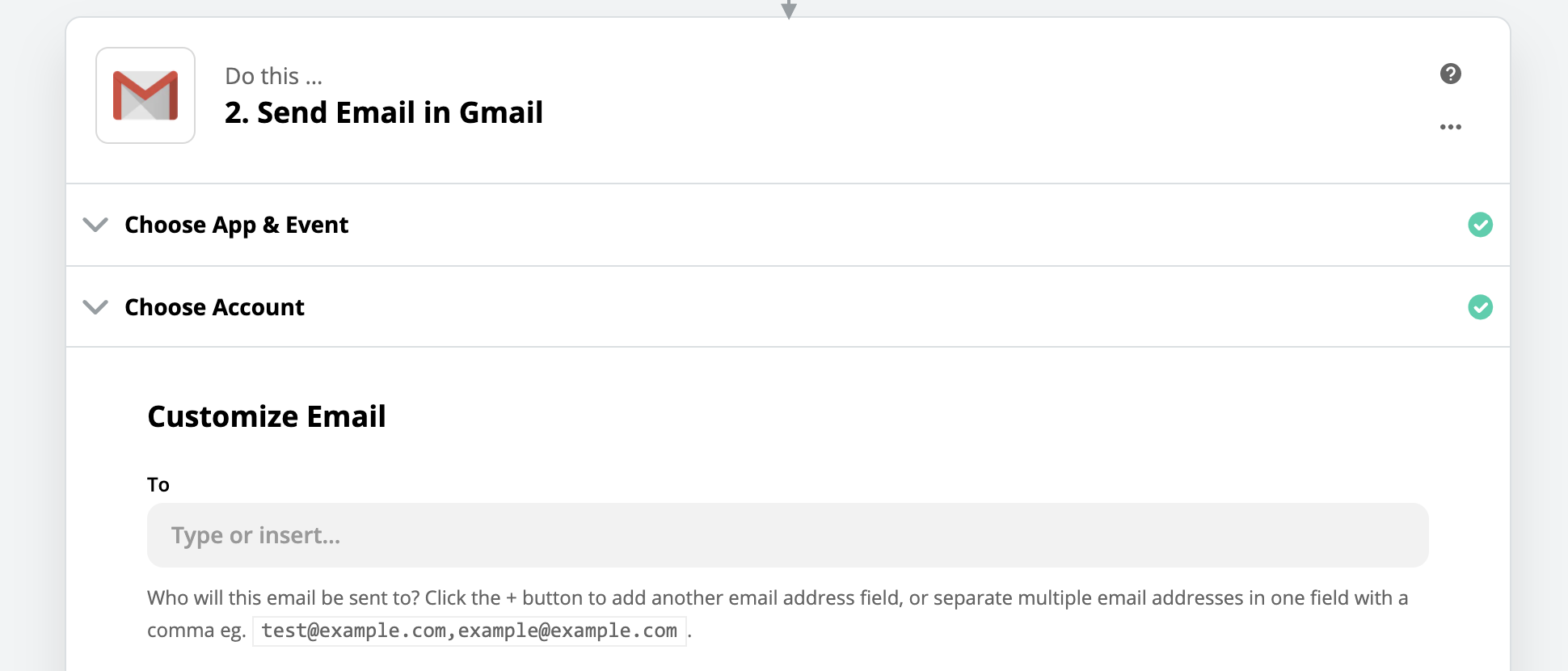 Composing a Gmail message in Zapier