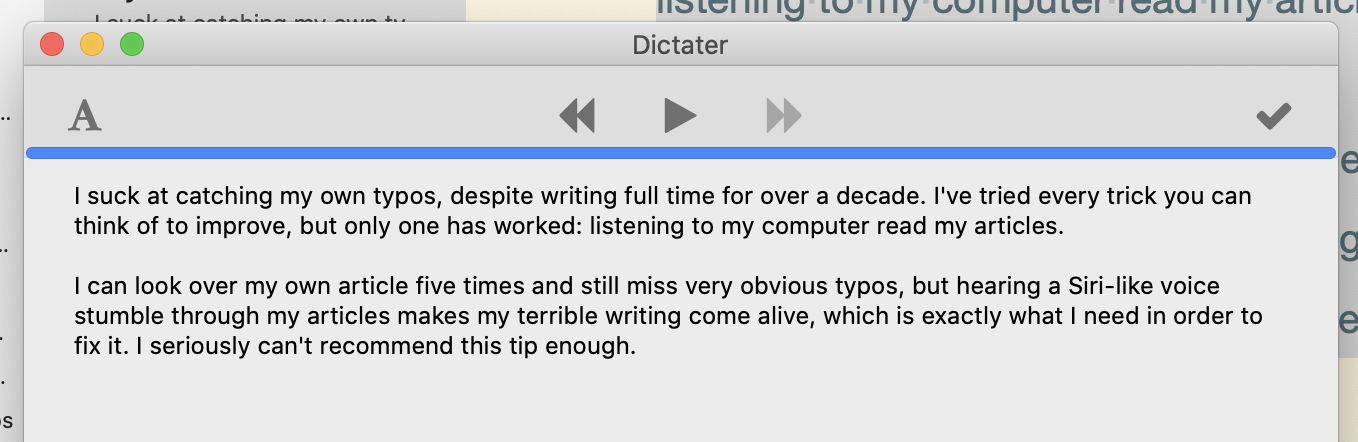 Dictater reading this article to me on a Mac