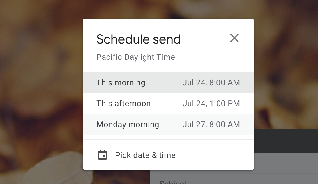 Gmail schedule email
