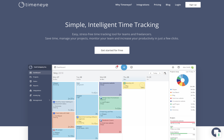Timeneye home page