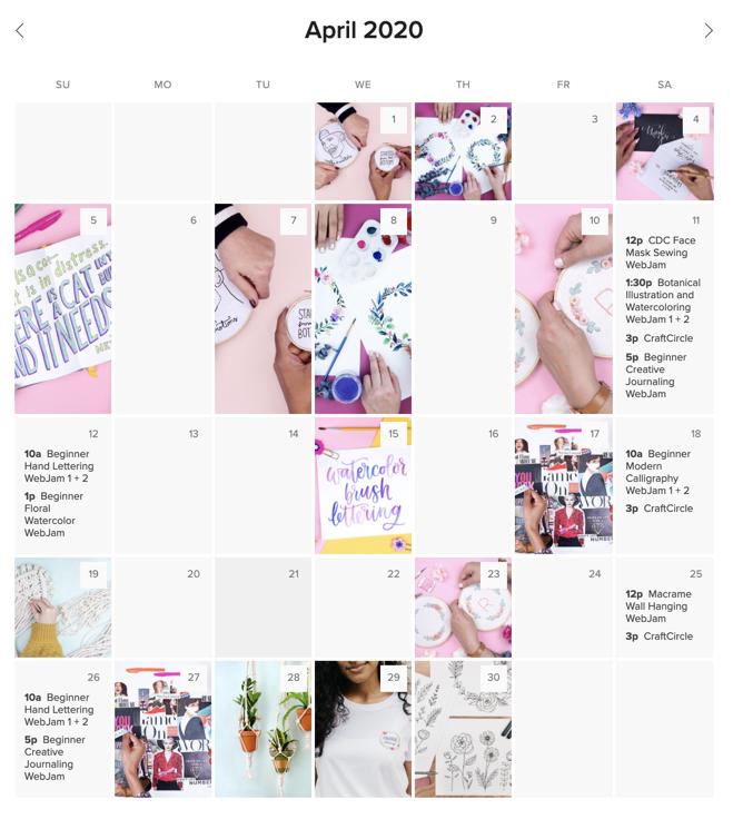 CraftJam calendar of crafting