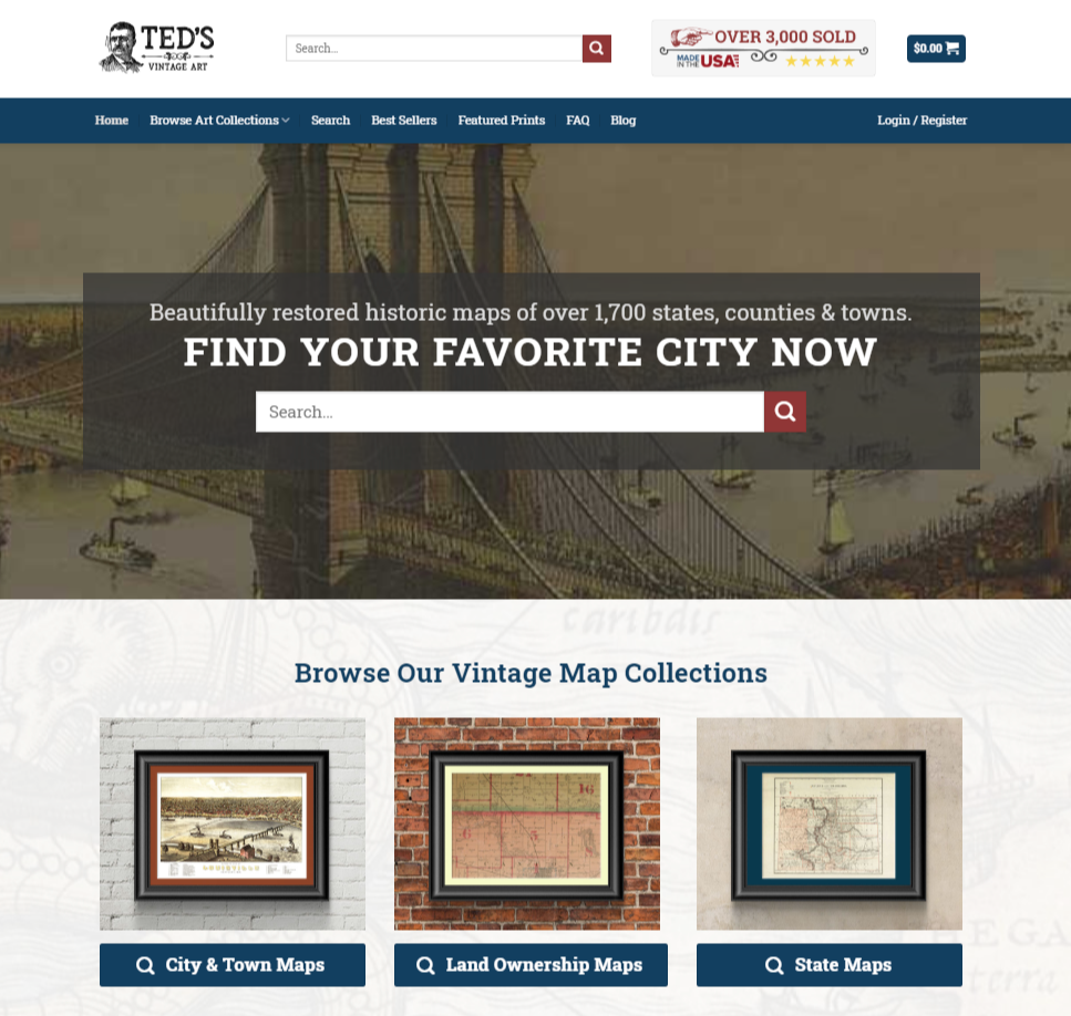 The home page for Ted's Vintage Art