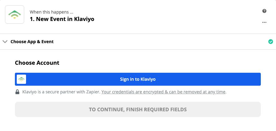 Click to connect Klaviyo
