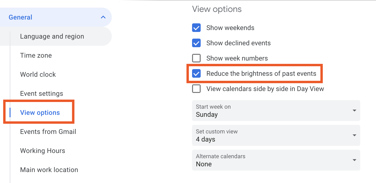 View options in Google Calendar
