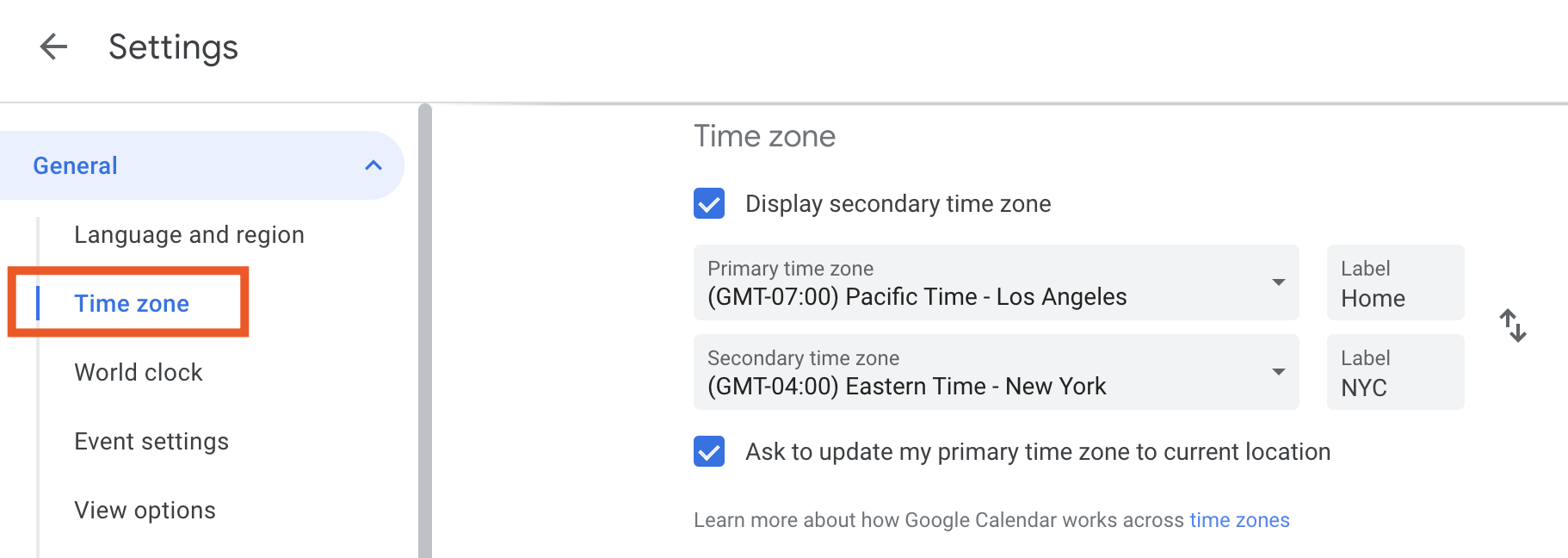 Time zone settings in Google Calendar