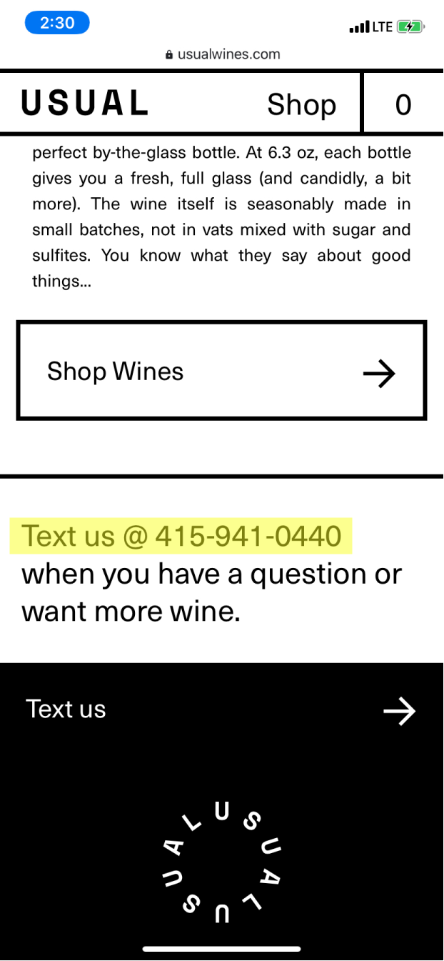A screenshot of Usual Wines' website with a button that says Text us