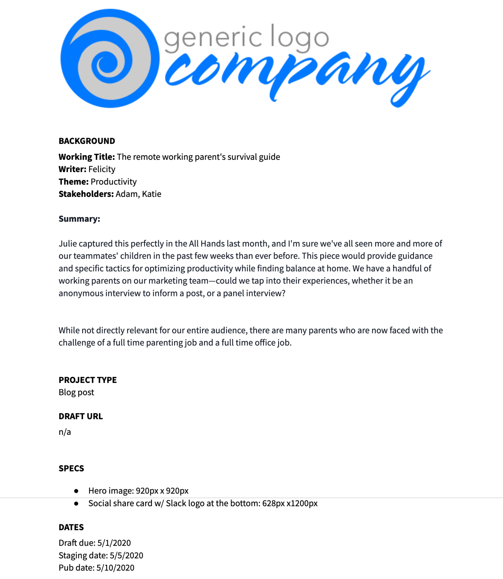 Example Google Docs template